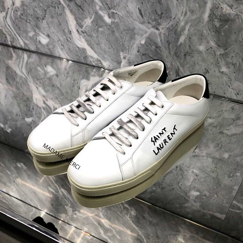 【Saint Laurent】COURT CLASSIC SL / 06 EMBROIDERED LEATHER SNEAKERS