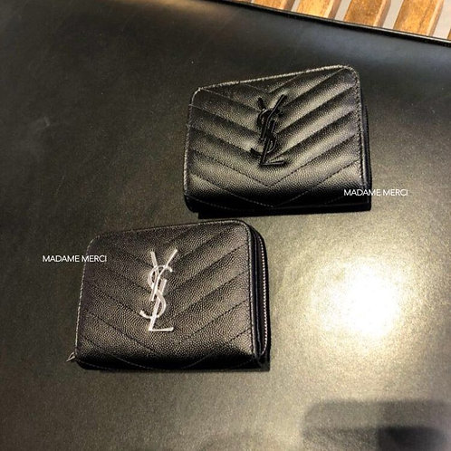【Saint Laurent】COMPACT ZIPPED WALLET × EMBOSSED LEATHER