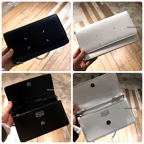【Maison Margiela】Logo leather clutch with Chain strap