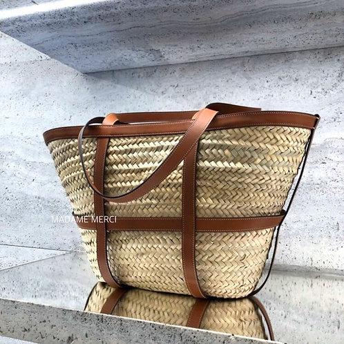【CELINE】Classic raffia&calfskin Basket bag