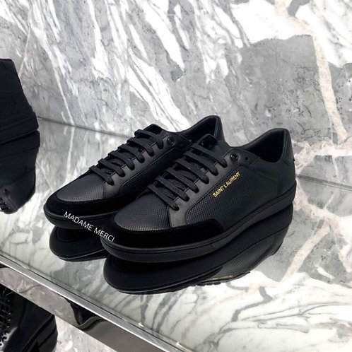 【Saint Laurent】COURT CLASSIC SL / 10 PERFORATED AND SUEDE LEATHER SNEAKERS