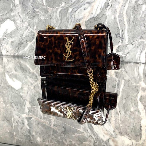 【Saint Laurent】SUNSET SMALL BAG × TURTLE SCALE PATTERNED LEATHER