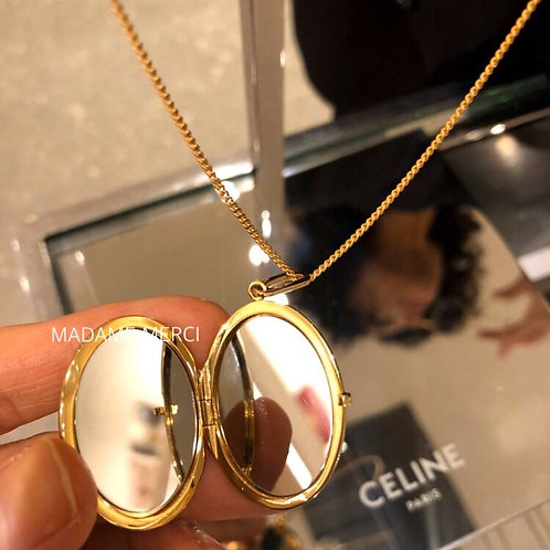 【CELINE】Golden Brass & Steel Mirror Medallion pendant head