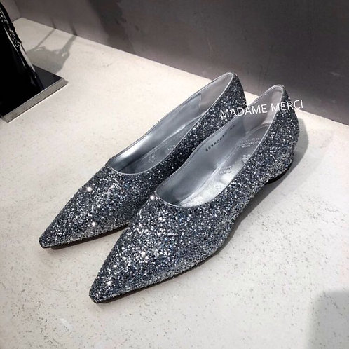 【Maison Margiela】Glittery moccasins with four topstitching