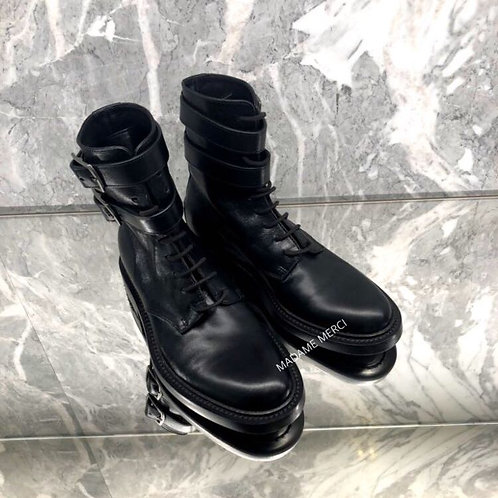 【Saint Laurent】ARMY BOOTS IN KANGAROO-EFFECT LEATHER × STUDS