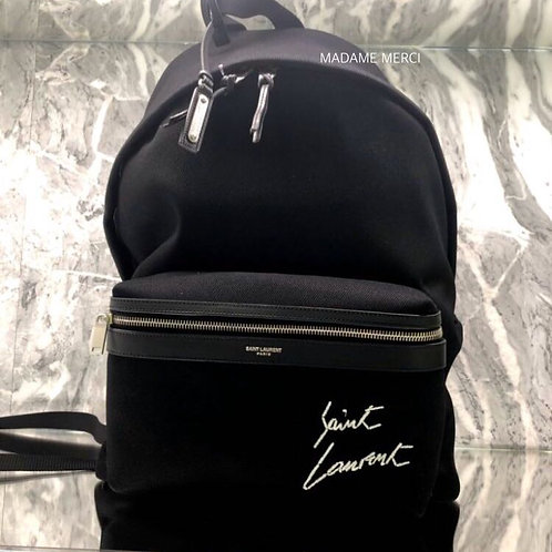 【Saint Laurent】CITY EMBROIDERED CANVAS BACKPACK