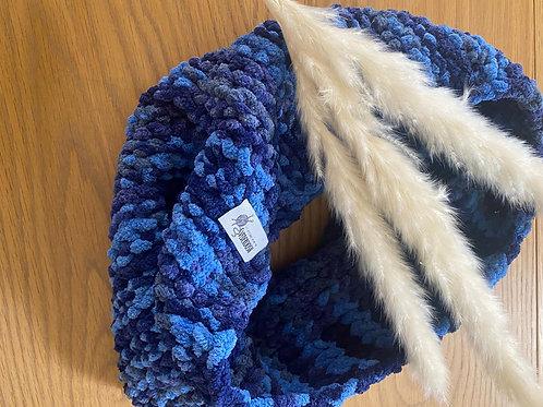 צעיף קטיפה גווני כחול