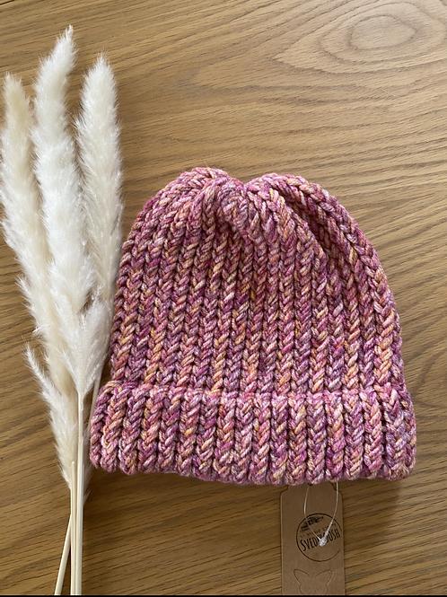 כובע צמר ורוד מלאנג׳