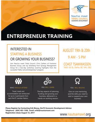 Entrepreneur Training August 19th & 20th Coast Tsawwassen Inn, Tsawwassen