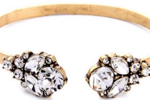1237 ANTIQUE GOLD with CLEAR CRYSTALS