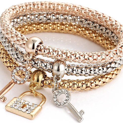 1242 SET of 3, GOLD, SILVER and ROSE GOLD