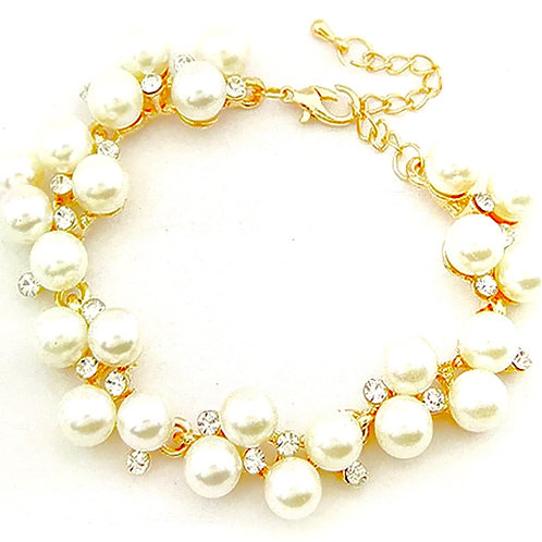1349 GOLD with FAUX PEARLS and CRYSTALS