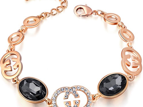 1243 ROSE GOLD, with  CLEAR CRYSTALS and BLACK ONYX STONES