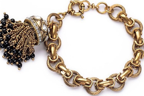 1286 ANTIQUE GOLD CHAIN and CHAIN TASSEL with CRYSTALS and BEADS