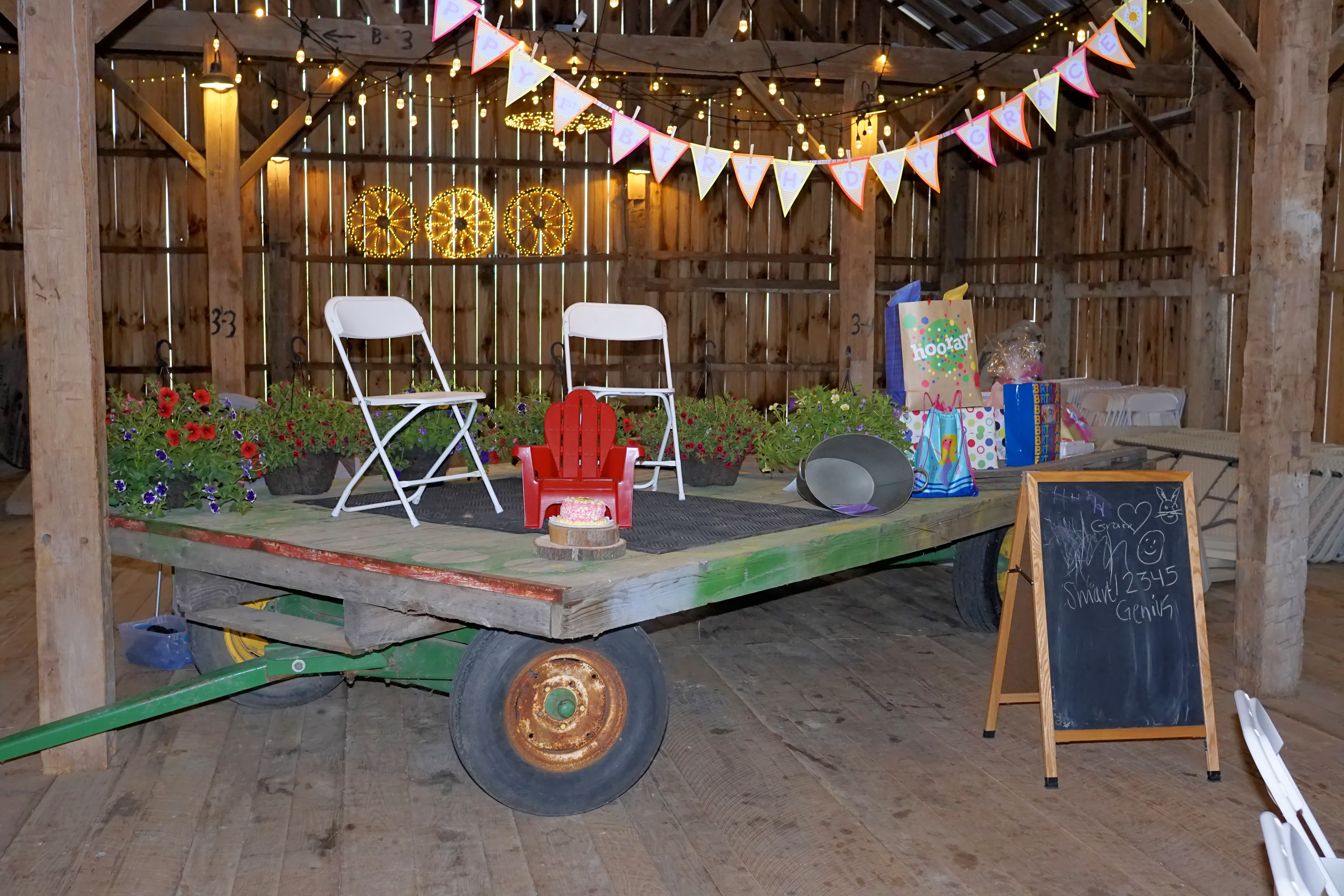 Opening gifts on a hay wagon