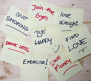 Group of New year Resolutions written on
