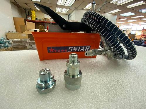 5 STAR AIR FOOT PEDAL HYDRAULIC PUMP FRAME MACHINES SHOP PRESS HOSE COUPLER
