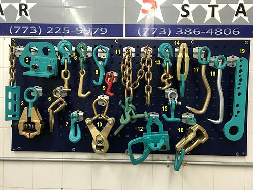 19 PIECE AUTO BODY FRAME MACHINE HEAVY DUTY PULLING CLAMPS TOOLS CHAINS SET
