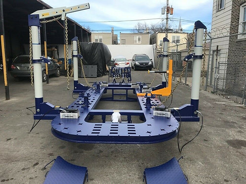 25 FEET 4 TOWERS AUTO BODY FRAME MACHINE + PUSHER+ FREE MECHANIC LIFT