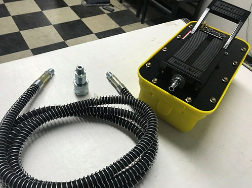 5 Star Yellow Air Hydraulic Foot Pump Pedal 10000 PSI 10ft Hose & Coupler