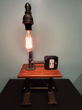 Burners from an Antique Boiler with Shelf and USB Charging Station