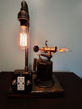 Antique Torch Lamp with Charging Outlet