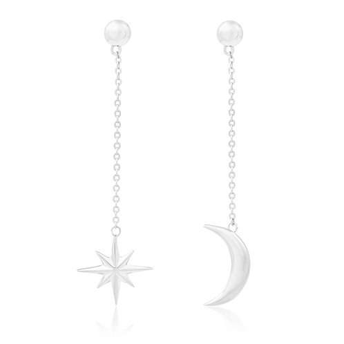 Cosmos - Silver, Star & Moon Earrings
