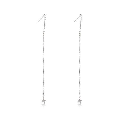 Talisman - Silver, Star Chain Earrings