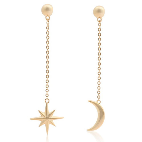Cosmos - Gold, Star & Moon Earrings