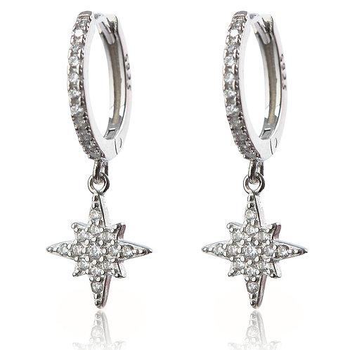 Talisman - Silver, Star Charm Earrings