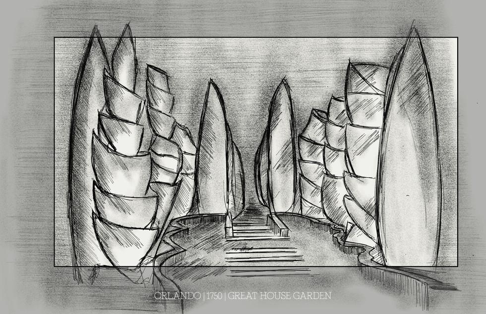 Orlando - 1750 House Garden Set Sketch