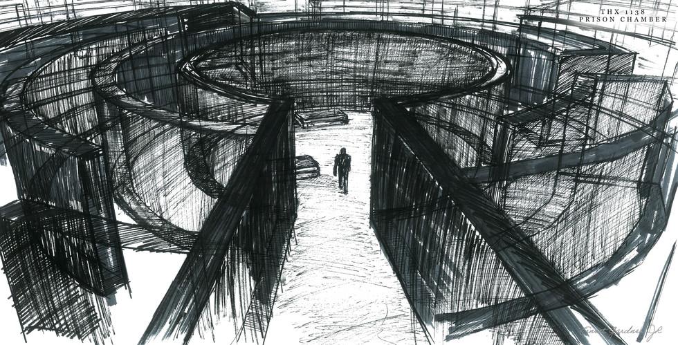 THX 1138 - Prison Chamber Sketch