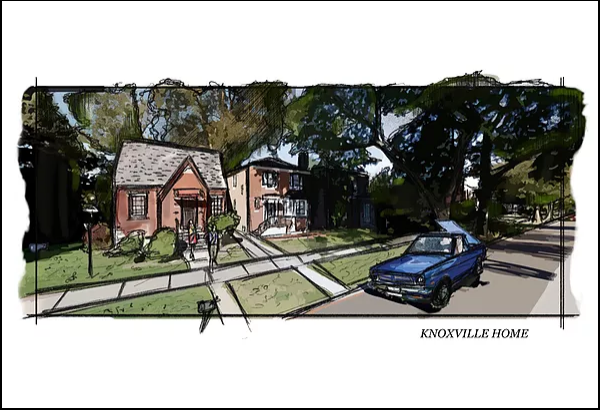 Knowville Story - Ext. Home Sketch/Illustration