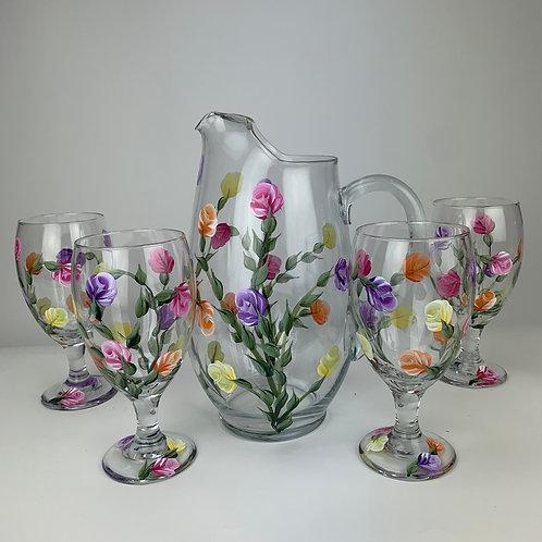 "5 piece pitcher set ""dozen roses"""