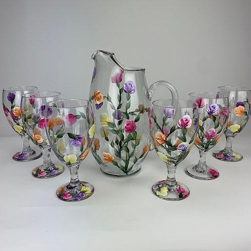 "7 piece pitcher set ""dozen roses"""