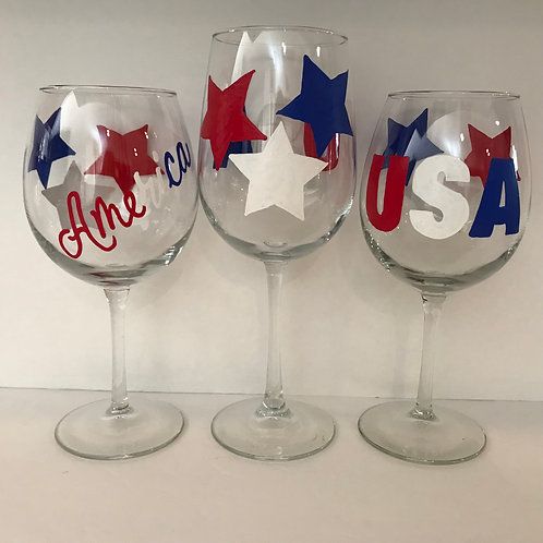 USA or America Star Patriotic Glass