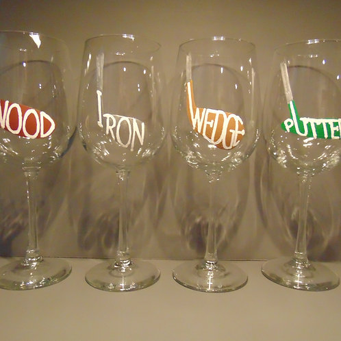 Wood Iron Wedge Putter set of 4 glasses