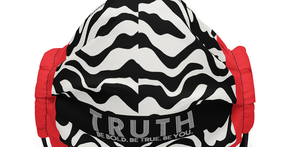 Premium face mask in Zebra with Red Accent
