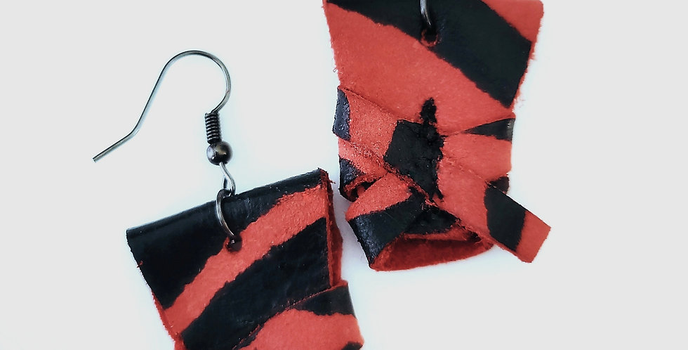 Genuine Leather  Red and Black Wrapped Zebra Print Earrings