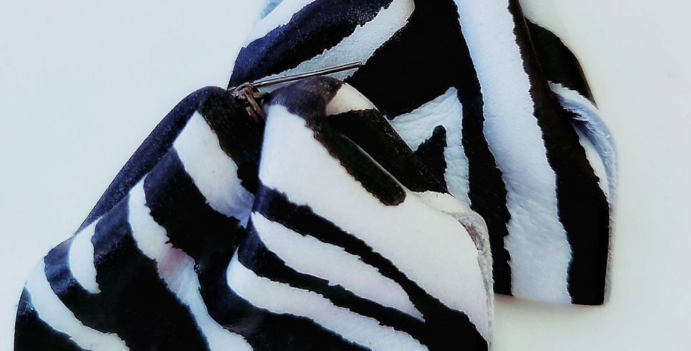"Genuine Leather Black and White ""Equidae"" Earrings"
