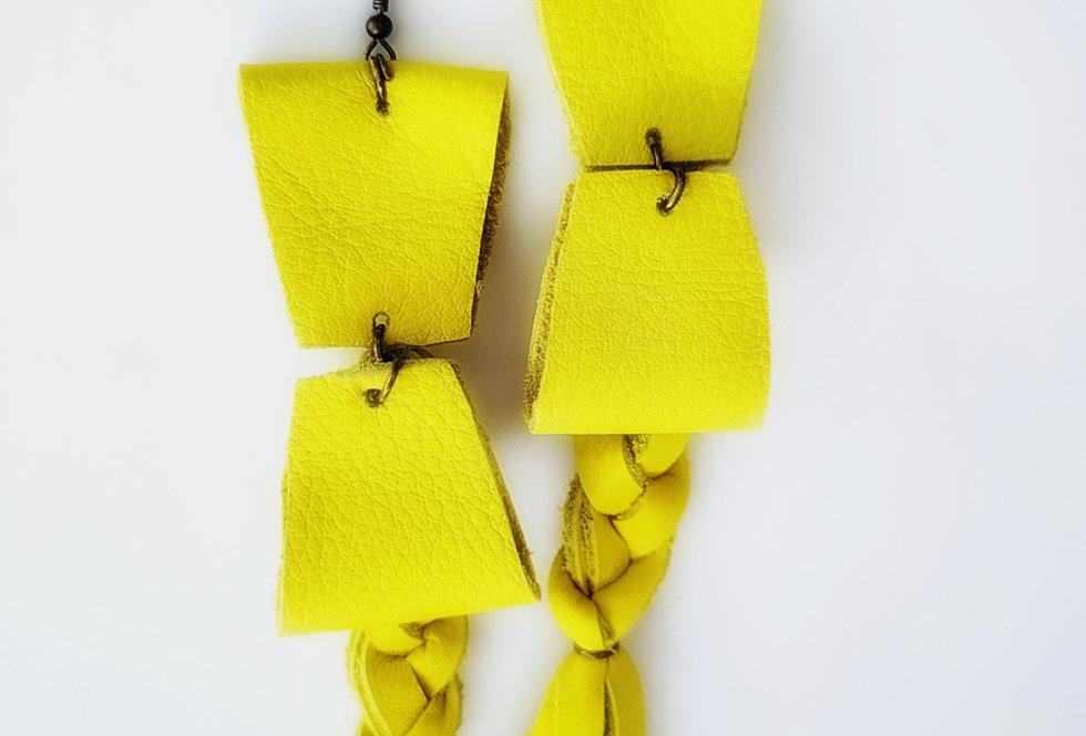 Genuine Leather Lemon Yellow Dangling Braid Earrings