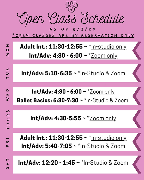Open Class Schedule 8.3.20