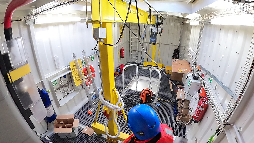 Inside the container part of the Blue Accelerator test platform.