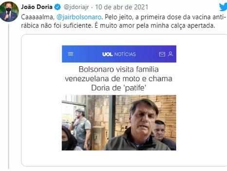 Chamado de 'patife', Doria rebate Bolsonaro: muito amor por minha calça apertada