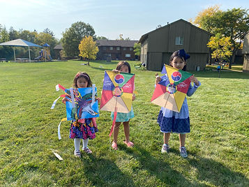 Kids holding Korean kites