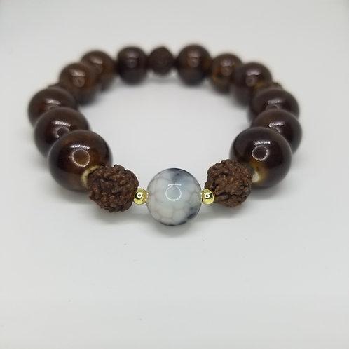 Woody Snake Bead Bracelet