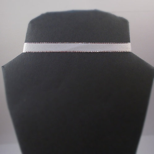 White Choker with Silver lining