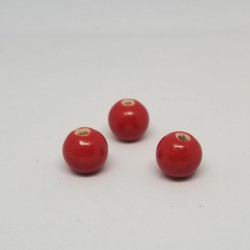 Round Beads, Red Ceramic