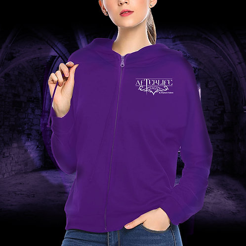 Zipped Purple Hoodie Afterlife Saga Logo