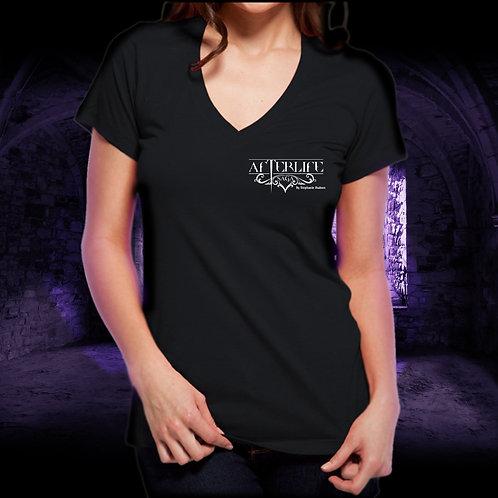 T-Shirt Black V Neck Afterlife Tattoo Logo